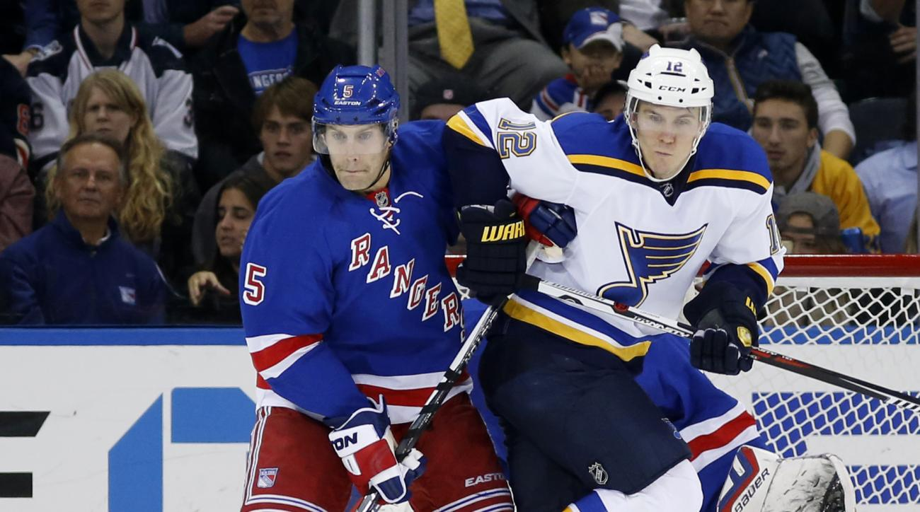 New York Rangers defenseman Dan Girardi (5) defends against St. Louis Blues center Jori Lehtera (12), of Finland, in front of the Rangers' goal in the second period of an NHL hockey game in New York, Thursday, Nov. 12, 2015. (AP Photo/Kathy Willens)