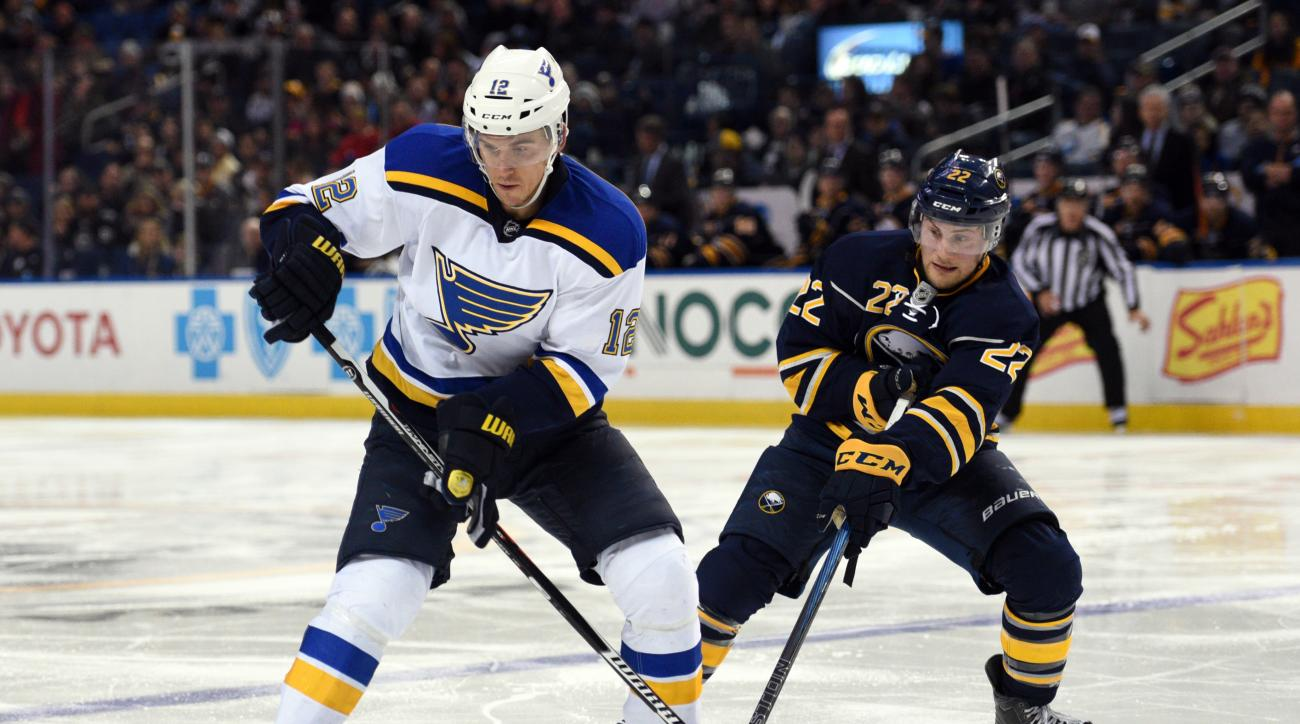St. Louis Blues center Jori Lehtera (12), of Finland, and Buffalo Sabres left winger Johan Larsson (22), of Sweden, battle for the puck during the second period of an NHL hockey game, Monday Nov. 23, 2015 in Buffalo, N.Y. (AP Photo/Gary Wiepert)