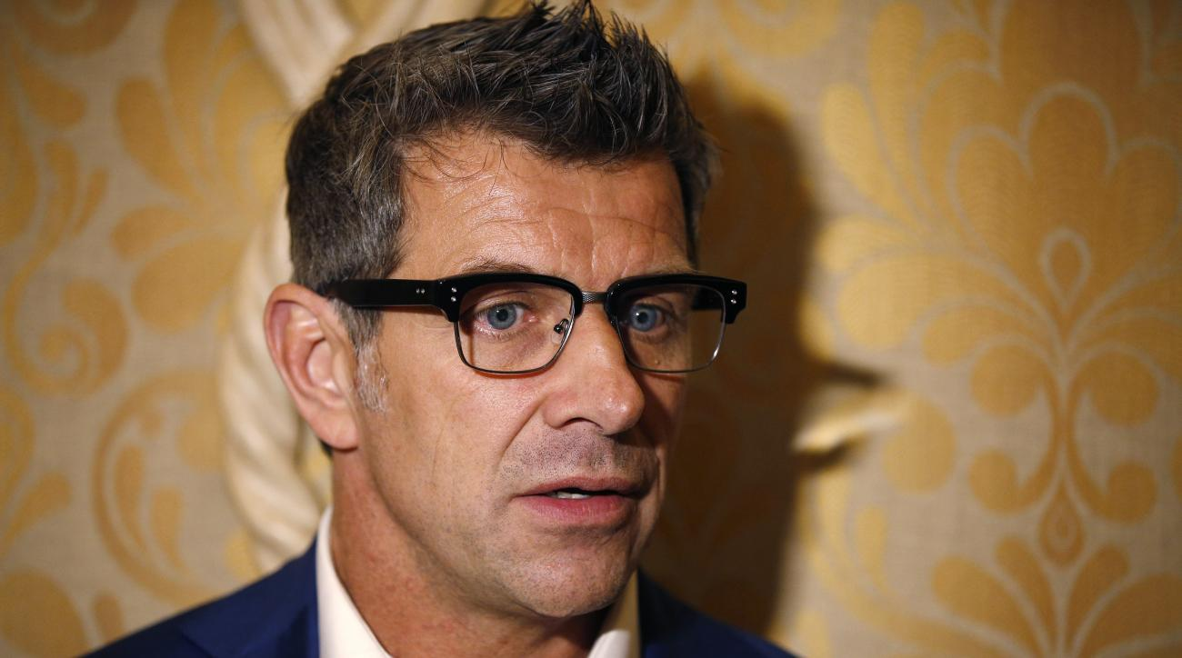 Marc Bergevin, general manager of the Montreal Canadiens, speaks with the media after a meeting of NHL general managers Tuesday, June 23, 2015, in Las Vegas. (AP Photo/John Locher)