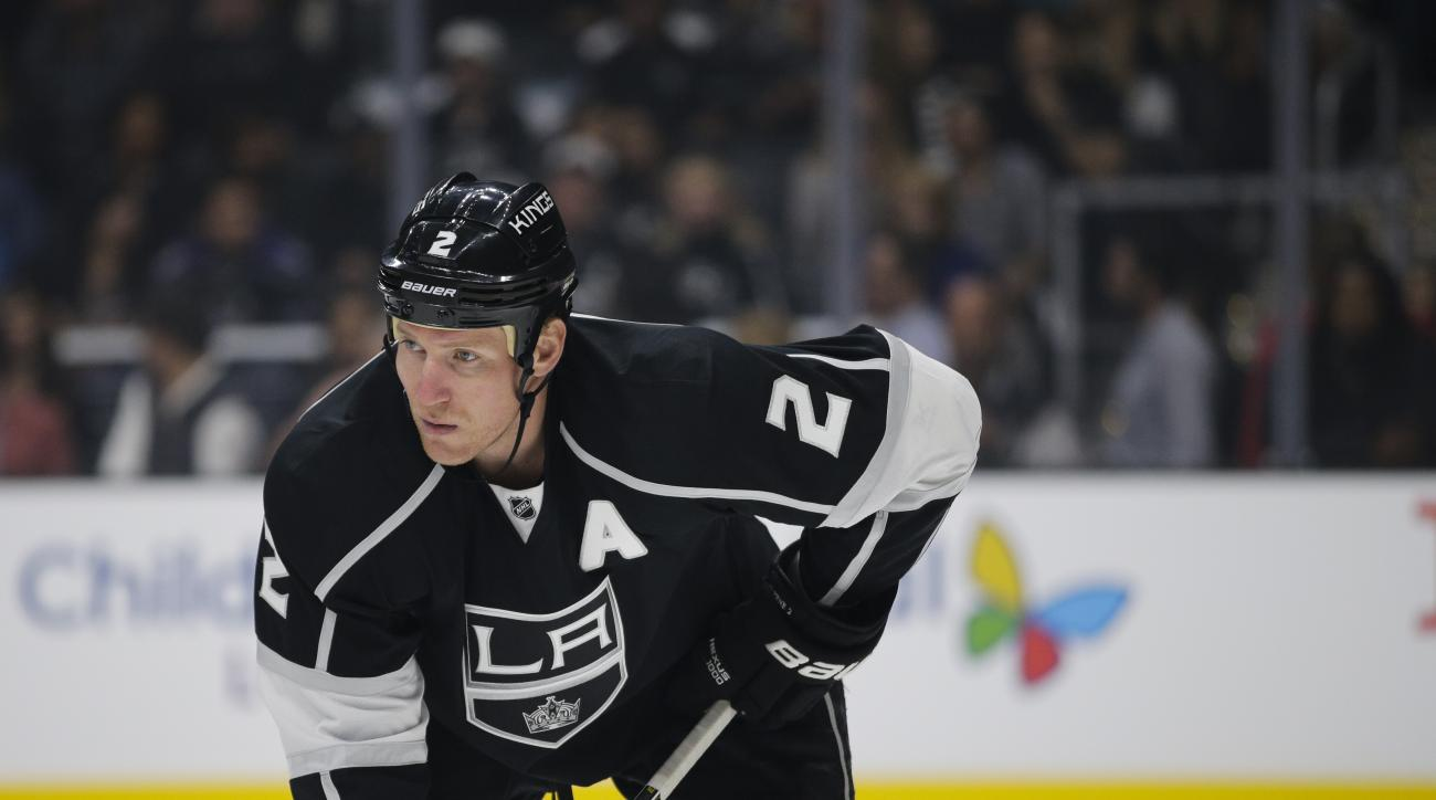 Los Angeles Kings' Matt Greene watches during the first period of an NHL hockey game against the San Jose Sharks, Wednesday, Oct. 7, 2015, in Los Angeles. (AP Photo/Jae C. Hong)