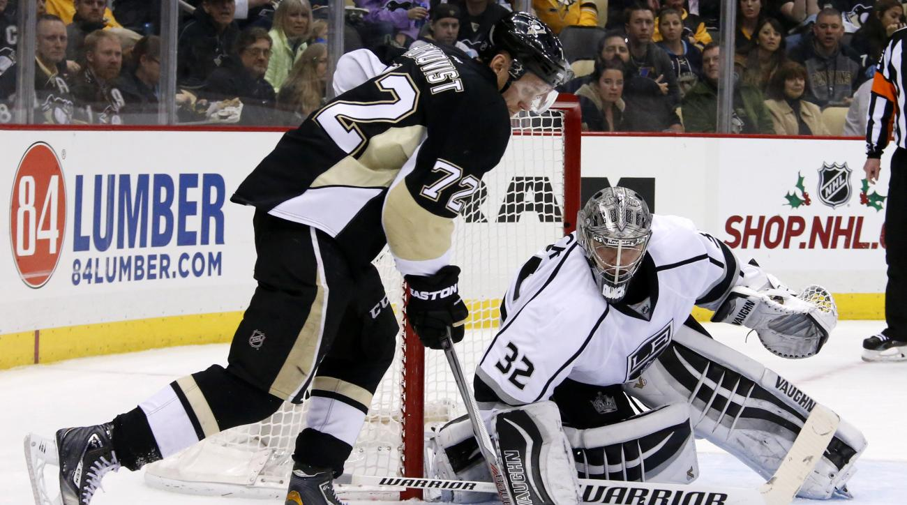 Pittsburgh Penguins' Patric Hornqvist (72) works to get a shot off against Los Angeles Kings goalie Jonathan Quick (32) during the second period of an NHL hockey game in Pittsburgh, Friday, Dec. 11, 2015.(AP Photo/Gene J. Puskar)