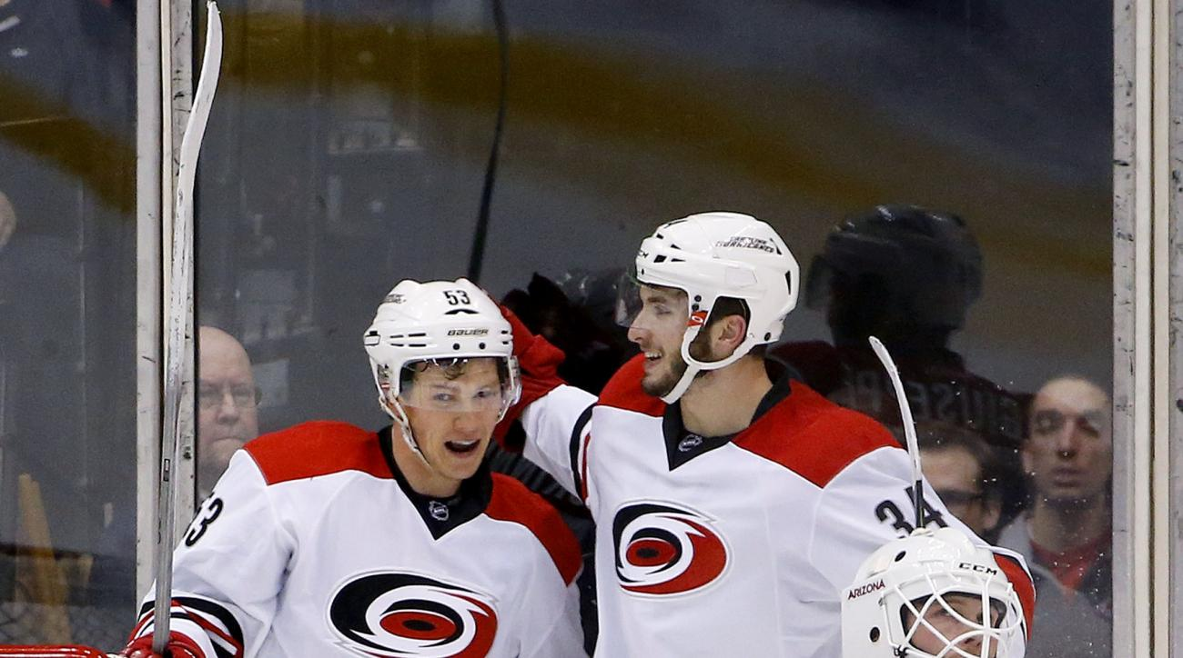 Carolina Hurricanes' Phil Di Giuseppe (34) celebrates his goal against Arizona Coyotes' Anders Lindback (29), of Sweden, with teammate Jeff Skinner (53) during the second period of an NHL hockey game Saturday, Dec. 12, 2015 in Glendale, Ariz. (AP Photo/Ro
