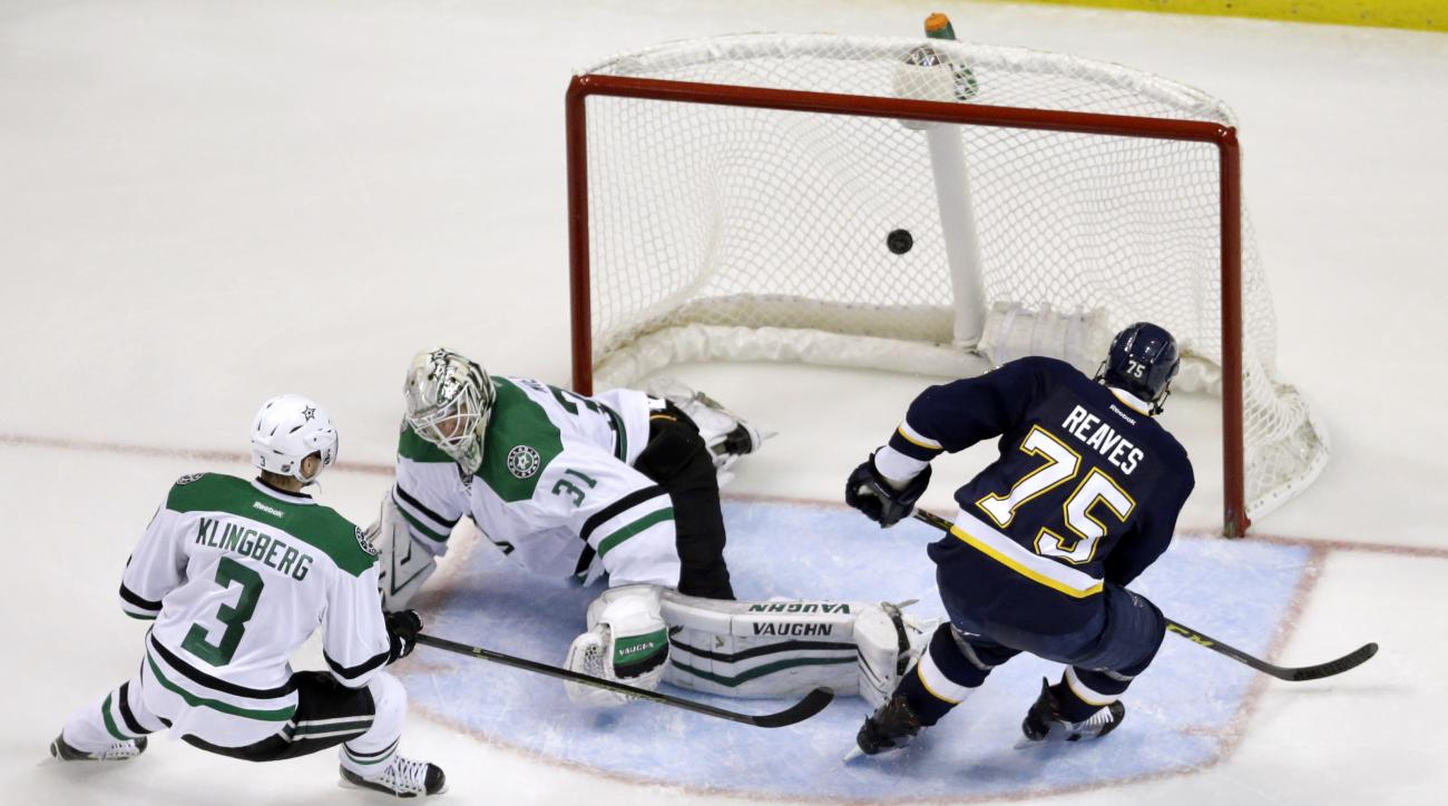 St. Louis Blues' Ryan Reaves, right, scores past Dallas Stars goalie Antti Niemi, of Finland, and John Klingberg, left, of Sweden, during the third period of an NHL hockey game Saturday, Dec. 12, 2015, in St. Louis. The Blues won 3-0. (AP Photo/Jeff Rober