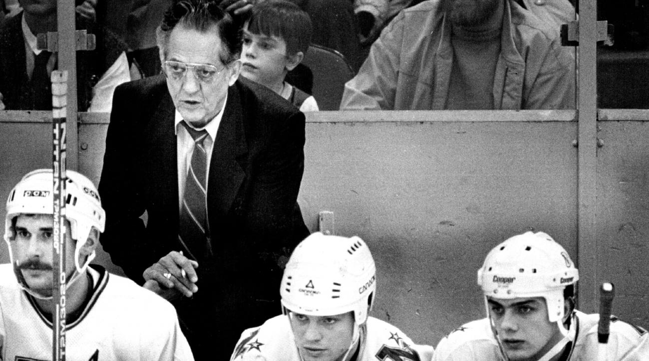 This photo taken Feb. 10, 1985, shows Minnesota North Stars coach Glen Sonmor. Sonmor, the former Minnesota North Stars and University of Minnesota hockey coach has died. He was 86. Ex-North Stars general manager Lou Nanne says Sonmor died Monday, Dec. 14