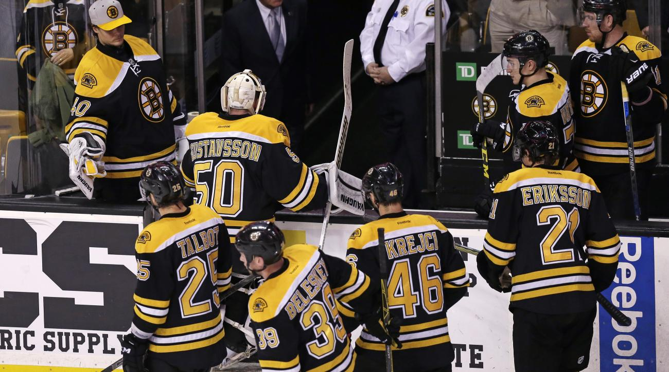 Boston Bruins goalie Jonas Gustavsson (50) heads to the locker room after a 3-2 overtime loss to the Edmonton Oilers after an NHL hockey game in Boston, Monday, Dec. 14, 2015. The Oiler won 3-2. (AP Photo/Charles Krupa)