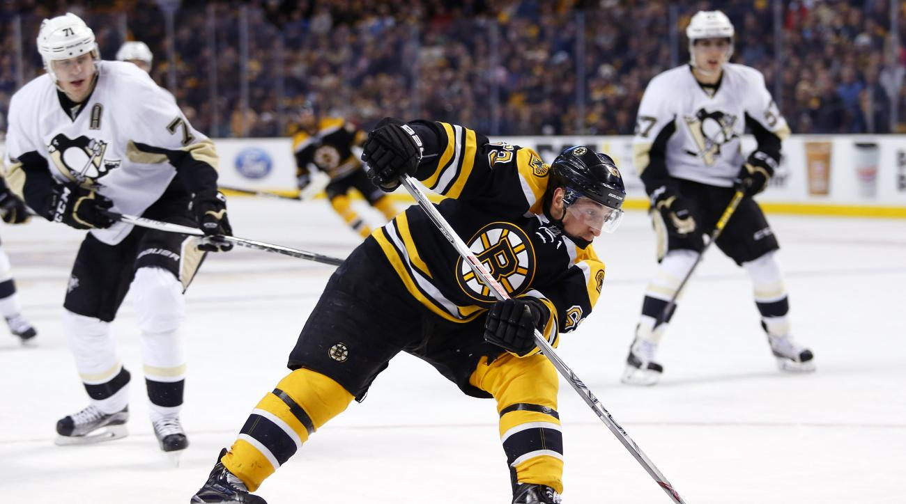 Boston Bruins' Brad Marchand skates away from Pittsburgh Penguins' Evgeni Malkin (71) during the second period of an NHL hockey game in Boston Wednesday, Dec. 16, 2015. (AP Photo/Winslow Townson)