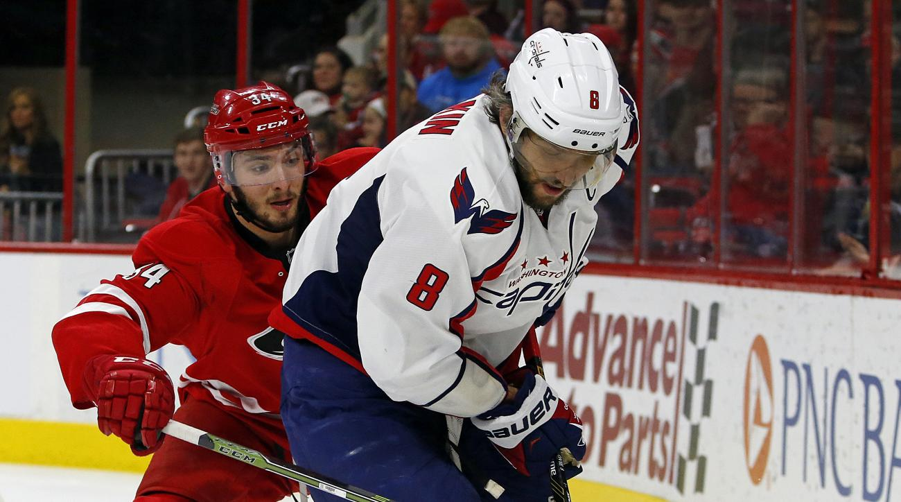 Washington Capitals' Alex Ovechkin (8) of Russia, works the puck against Carolina Hurricanes' Phil Di Giuseppe (34) during the first period of an NHL hockey game, Monday, Dec. 21, 2015, in Raleigh, N.C. (AP Photo/Karl B DeBlaker)