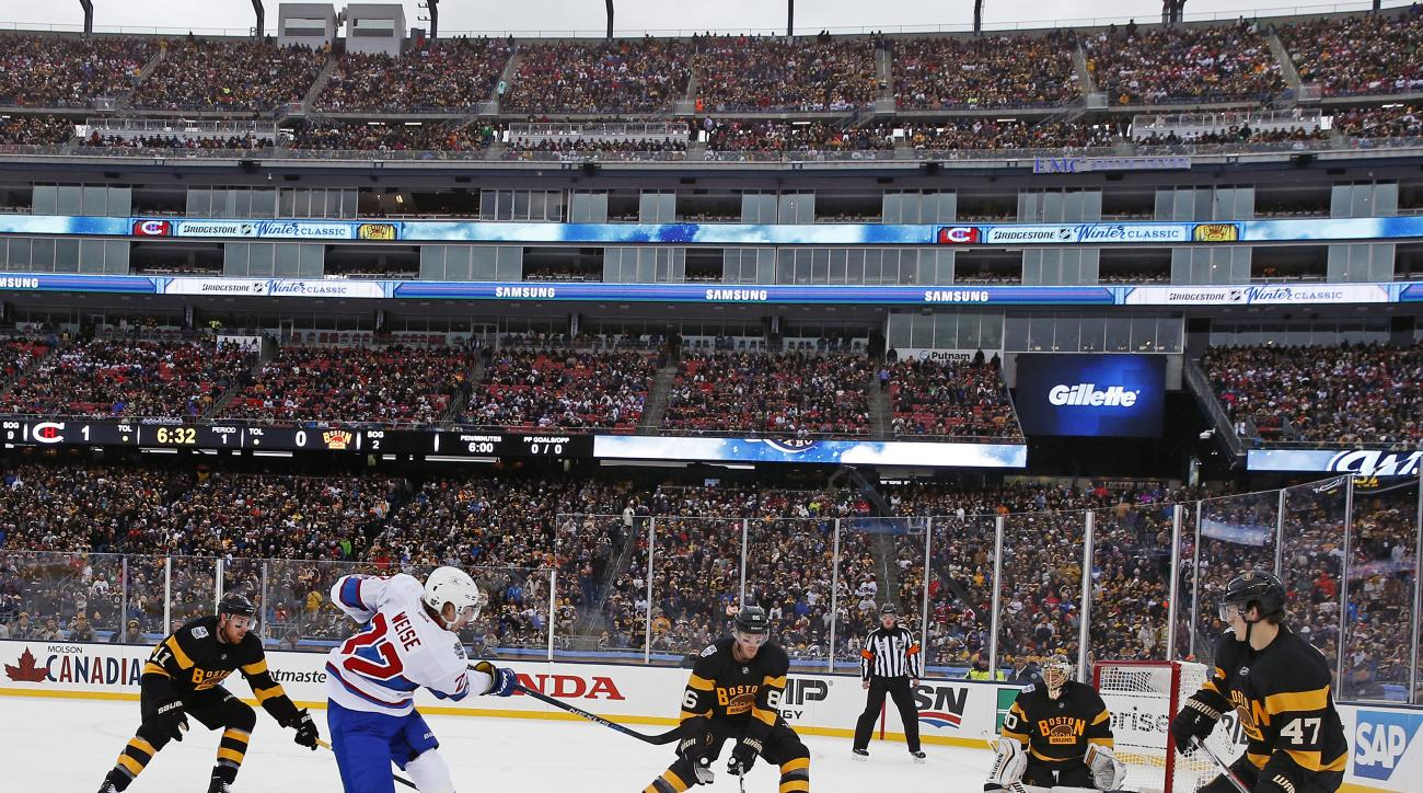Montreal Canadiens right wing Dale Weise (22) takes a shot on Boston Bruins goalie Tuukka Rask (40) during the first period of the NHL Winter Classic hockey game at Gillette Stadium in Foxborough, Mass., Friday, Jan. 1, 2016. (AP Photo/Michael Dwyer)