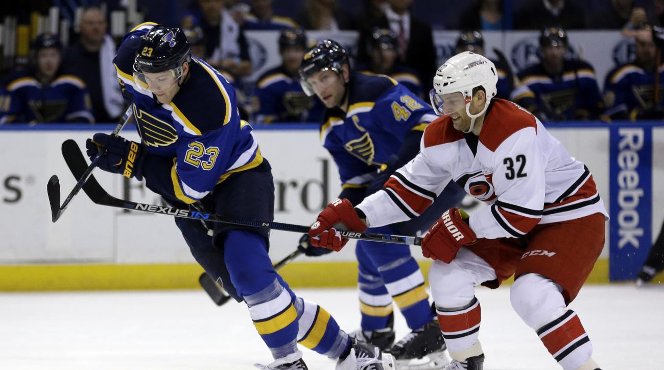 St. Louis Blues' Dmitrij Jaskin, left, of Russia, and Carolina Hurricanes' Kris Versteeg (32) chase after the puck as Blues' David Backes, center, watches during the second period of an NHL hockey game Thursday, Jan. 14, 2016, in St. Louis. (AP Photo/Jeff