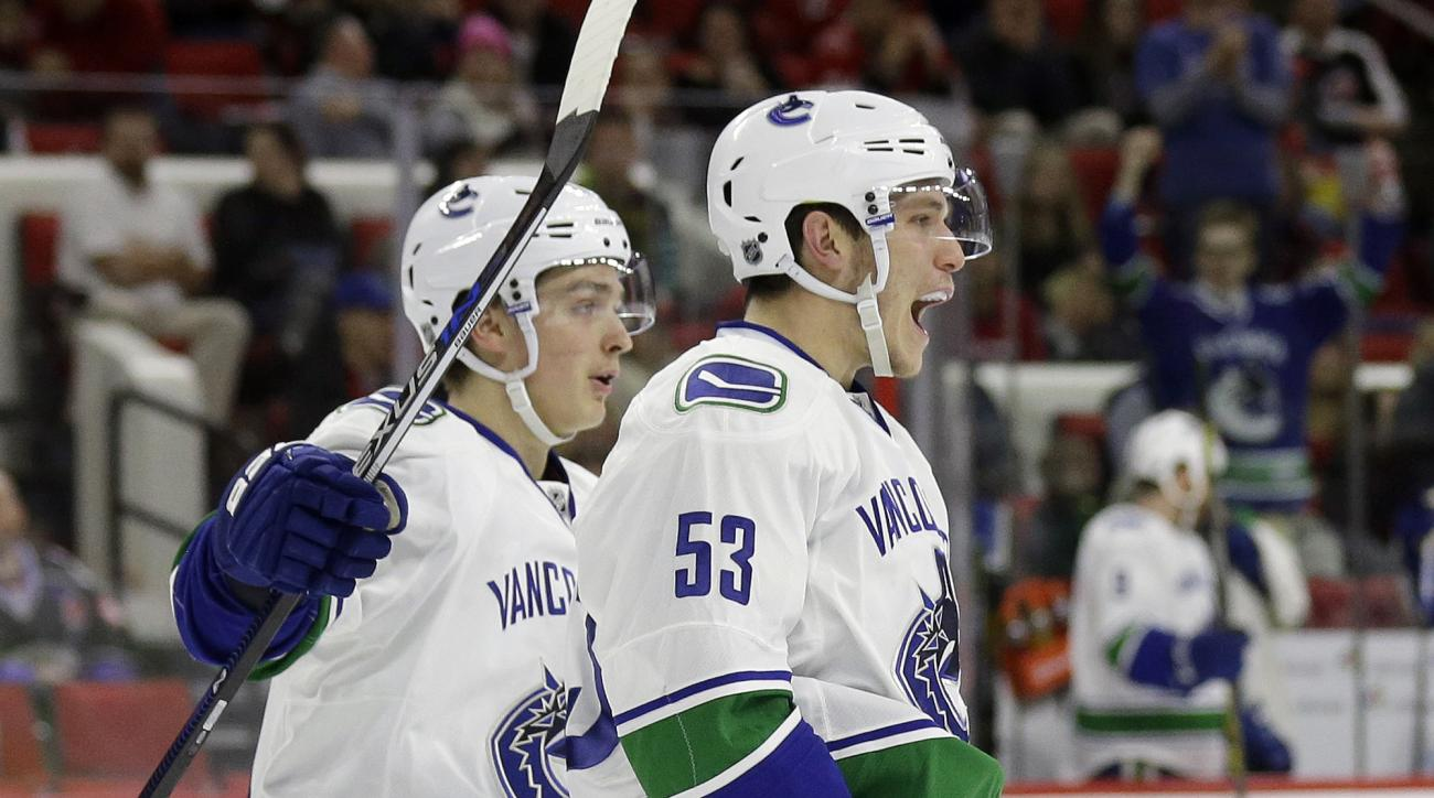Vancouver Canucks' Bo Horvat (53) is congratulated by Jake Virtanen following Horvat's goal against the Carolina Hurricanes during the second period of an NHL hockey game in Raleigh, N.C., Friday, Jan. 15, 2016. Vancouver won 3-2 in overtime. (AP Photo/Ge