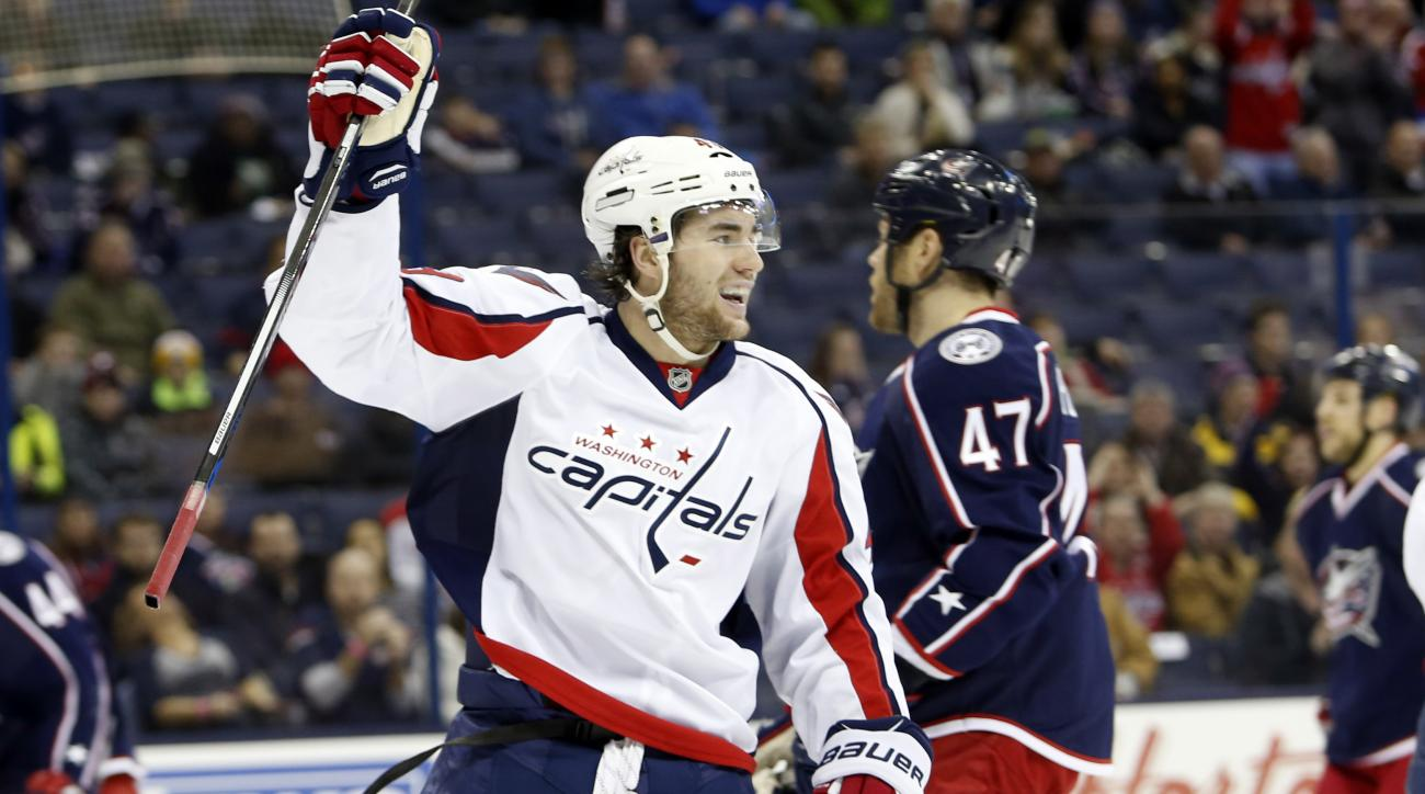 Washington Capitals' Tom Wilson celebrates a goal against the Columbus Blue Jackets' during the first period of an NHL hockey game, Tuesday, Jan. 19, 2016, in Columbus, Ohio. (AP Photo/Jay LaPrete)