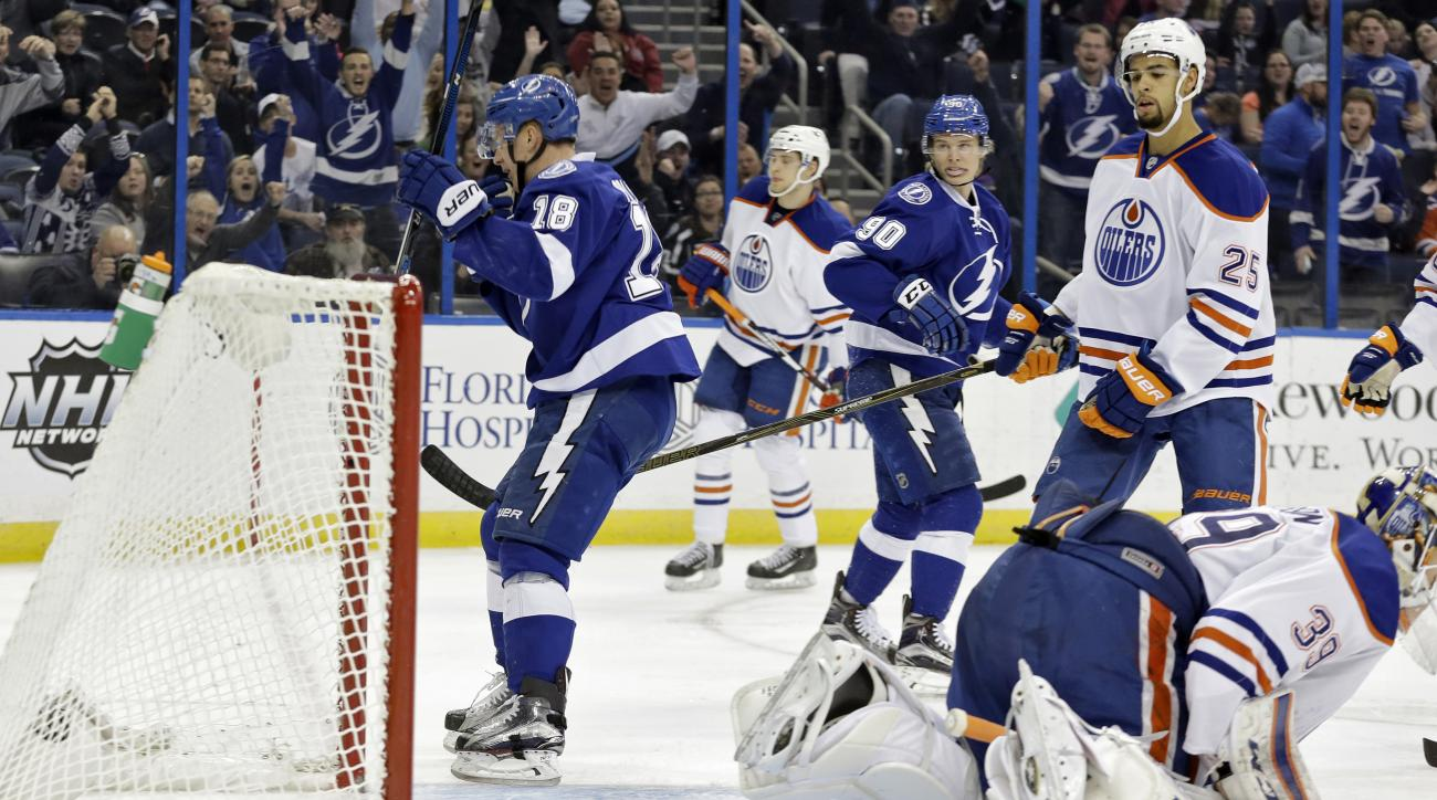 Tampa Bay Lightning left wing Ondrej Palat (18), of the Czech Republic, celebrates after scoring past Edmonton Oilers goalie Anders Nilsson (39), of Sweden, during the second period of an NHL hockey game Tuesday, Jan. 19, 2016, in Tampa, Fla. (AP Photo/Ch