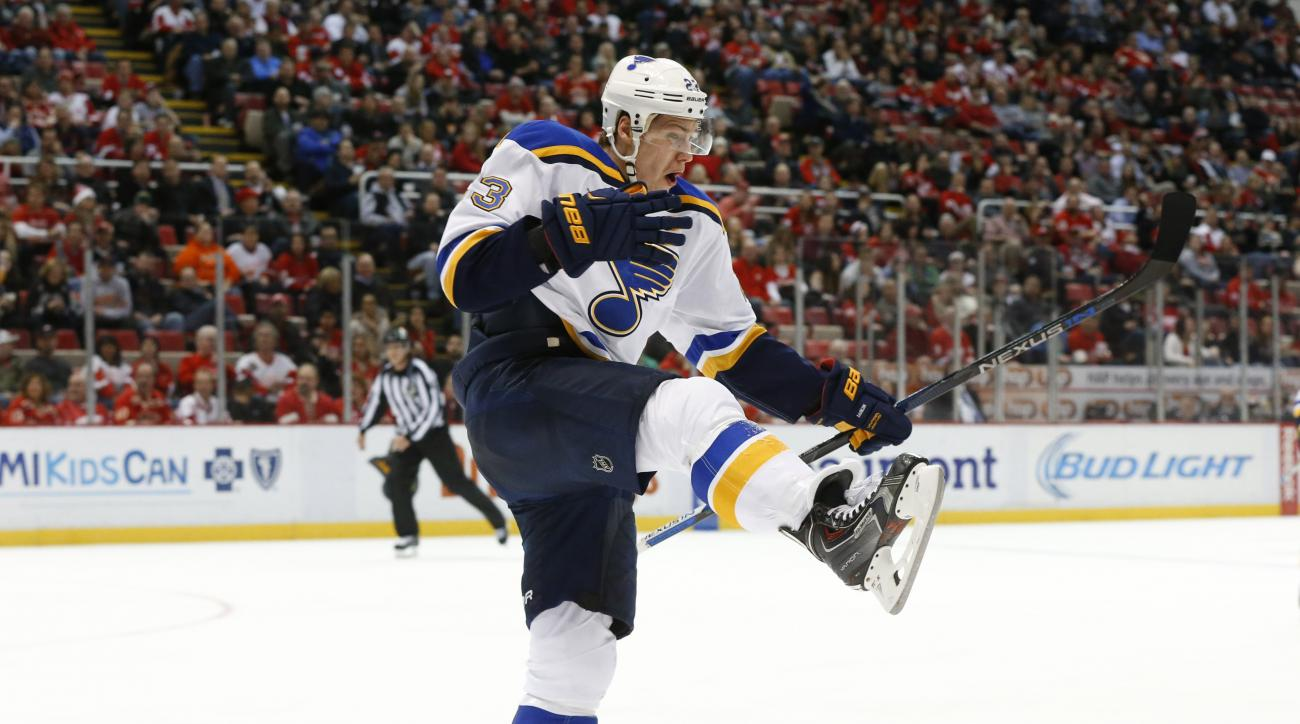 St. Louis Blues right wing Dmitrij Jaskin celebrates his goal against the Detroit Red Wings during the third period of an NHL hockey game Wednesday, Jan. 20, 2016, in Detroit. (AP Photo/Paul Sancya)