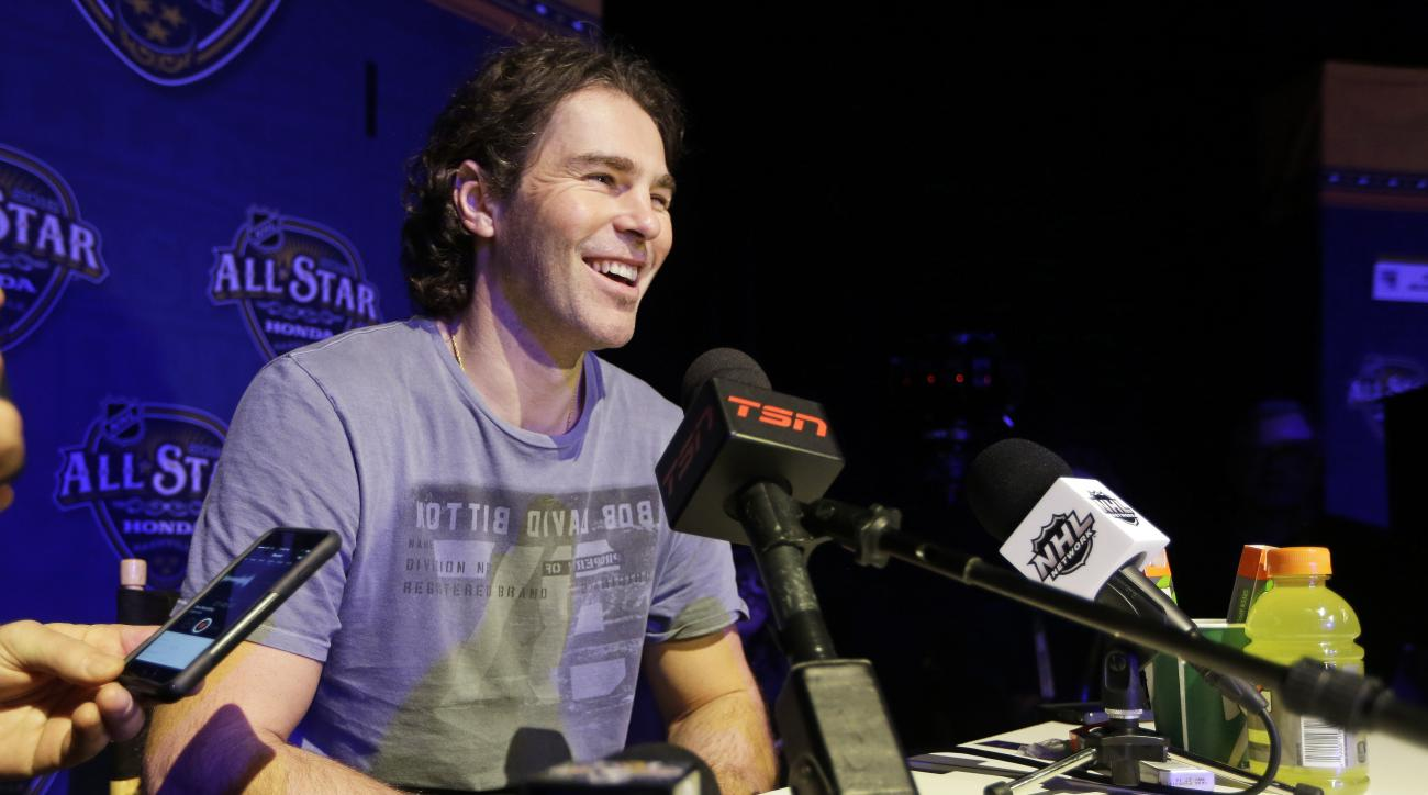 Florida Panthers forward Jaromir Jagr, of the Czech Republic, talks with reporters at the NHL hockey All-Star game media day Friday, Jan. 29, 2016, in Nashville, Tenn. The game is scheduled to be played Sunday, Jan. 31. (AP Photo/Mark Humphrey)