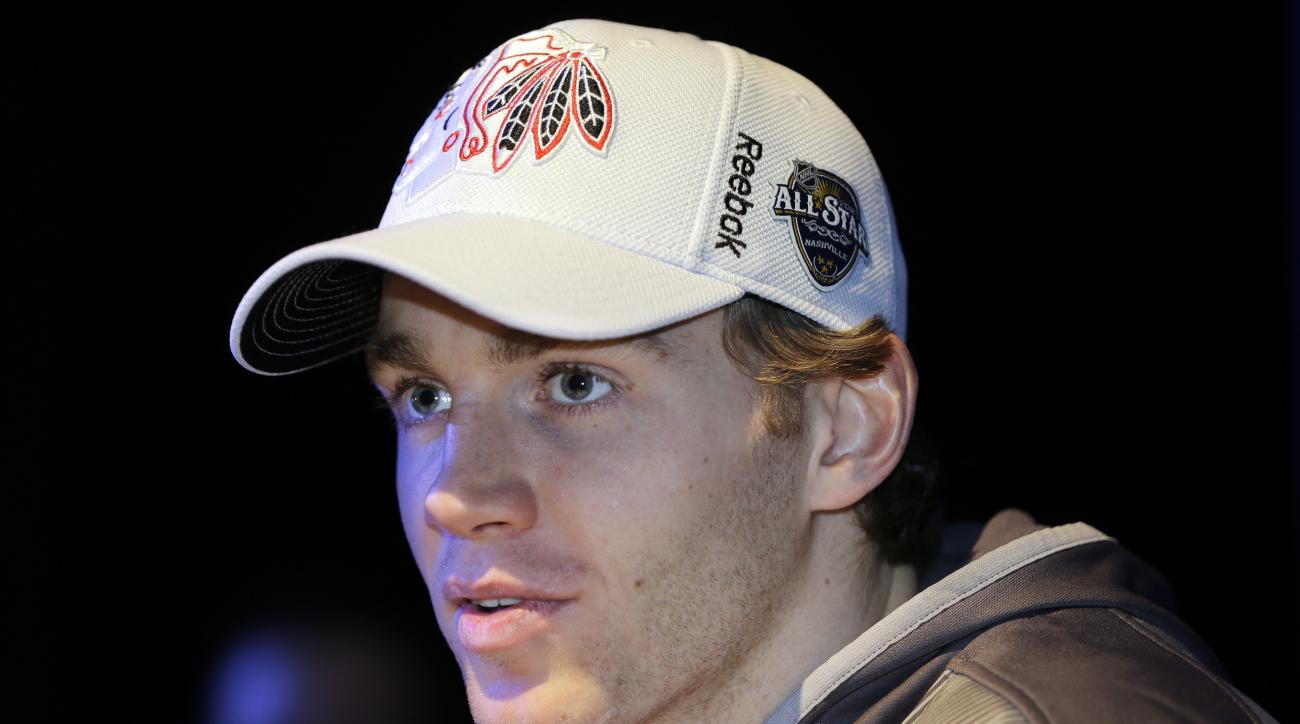 Chicago Blackhawks forward Patrick Kane answers questions during NHL hockey All-Star game media day Friday, Jan. 29, 2016, in Nashville, Tenn. The game is scheduled to be played Sunday, Jan. 31. (AP Photo/Mark Humphrey)