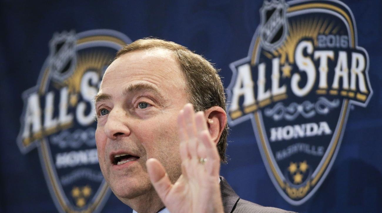 NHL commissioner Gary Bettman speaks at a news conference before the NHL All-Star hockey game skills competition Saturday, Jan. 30, 2016, in Nashville, Tenn. (AP Photo/Mark Humphrey)