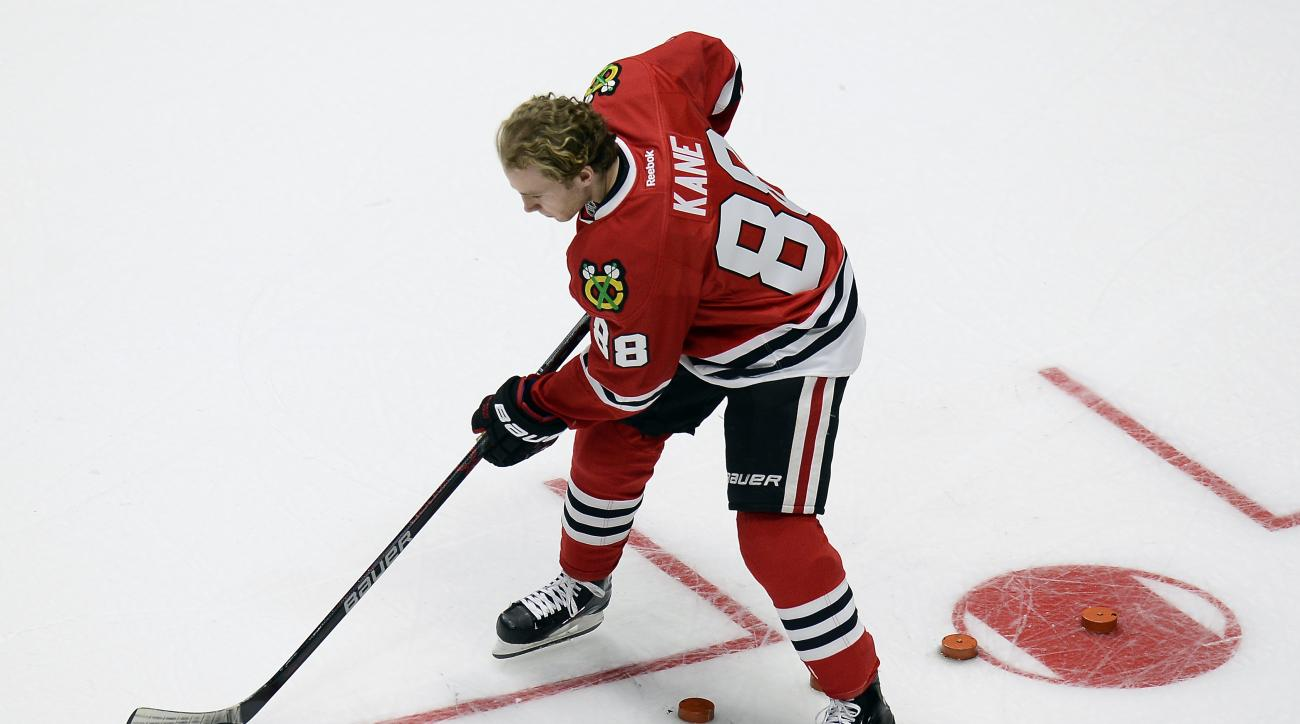 Chicago Blackhawks forward Patrick Kane (88) takes part in the challenge relay competition at the NHL All-Star skills competition Saturday, Jan. 30, 2016, in Nashville, Tenn. (AP Photo/Mark Zaleski)