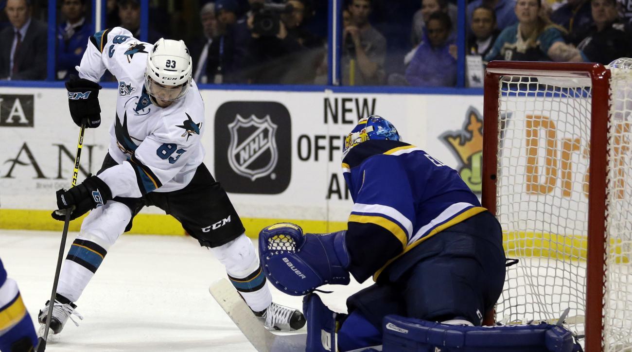 San Jose Sharks' Matt Nieto, left, prepares to score past St. Louis Blues goalie Brian Elliott during the third period of an NHL hockey game Thursday, Feb. 4, 2016, in St. Louis. The Sharks won 3-1. (AP Photo/Jeff Roberson)