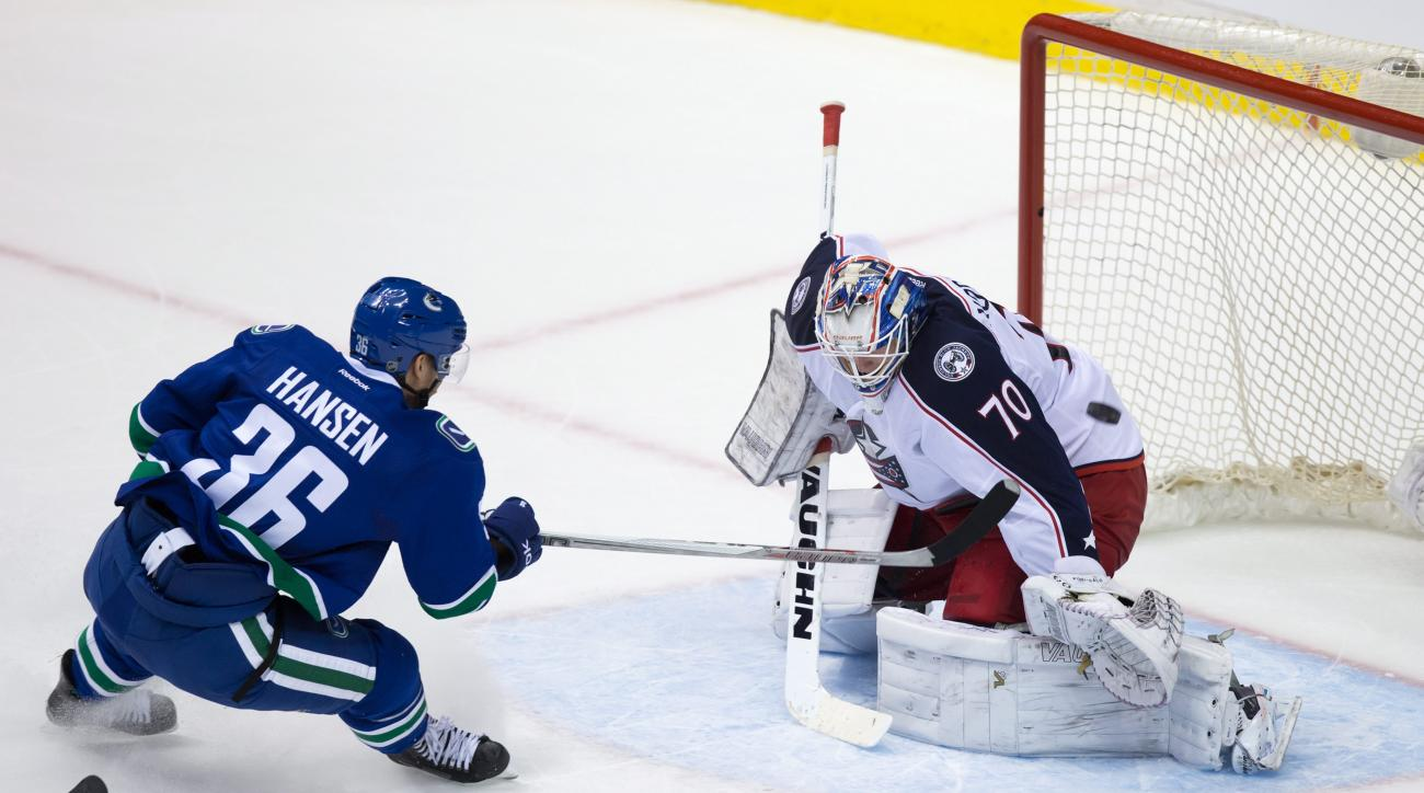 Columbus Blue Jackets goalie Joonas Korpisalo, right, of Finland, stops Vancouver Canucks' Jannik Hansen, of Denmark, on a breakaway during the overtime period of an NHL hockey game Thursday, Feb. 4, 2016, in Vancouver, British Columbia. (Darryl Dyck/The
