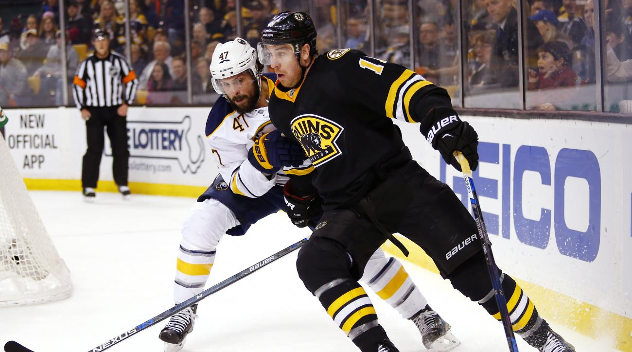 Boston Bruins' Jimmy Hayes tries to hold off Buffalo Sabres' Zach Bogosian during the second period of an NHL hockey game in Boston Saturday, Feb. 6, 2016. (AP Photo/Winslow Townson)