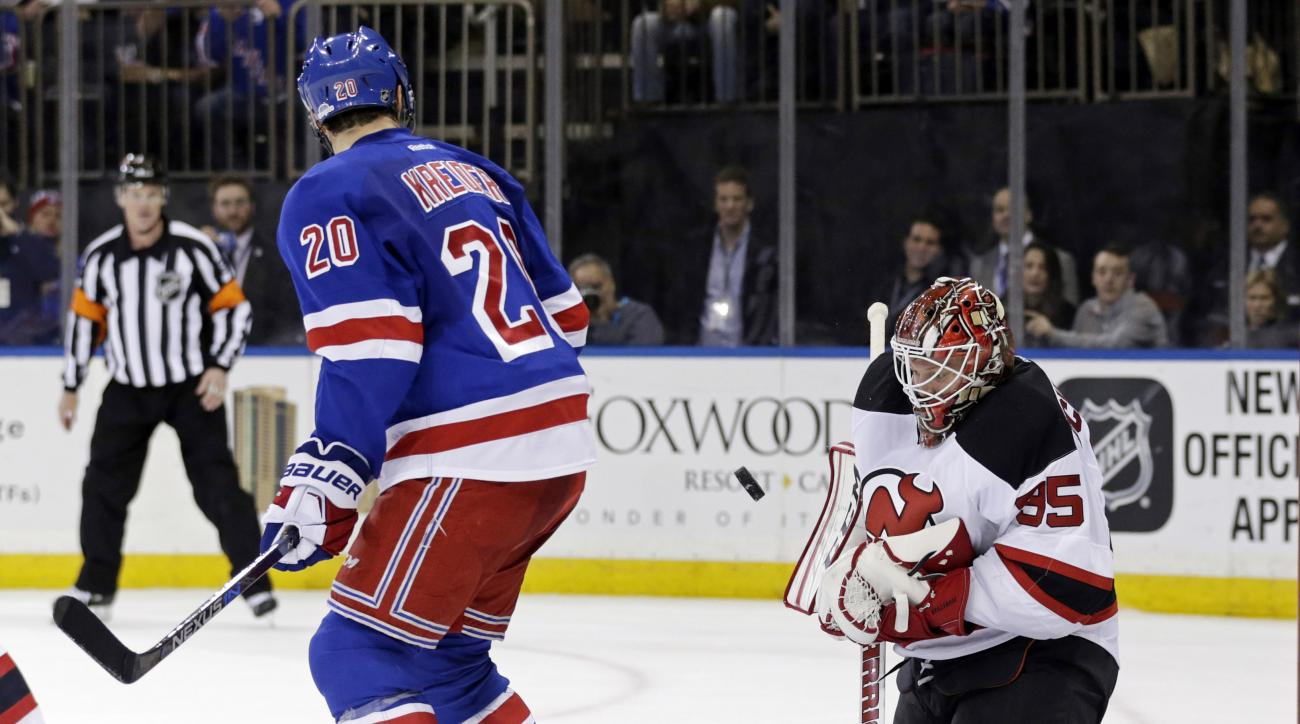 New York Rangers Chris Kreider (20) watches as New Jersey Devils goalie Cory Schneider (35) makes a save in the second period of an NHL hockey game Monday, Feb. 8, 2016, in New York. (AP Photo/Adam Hunger)