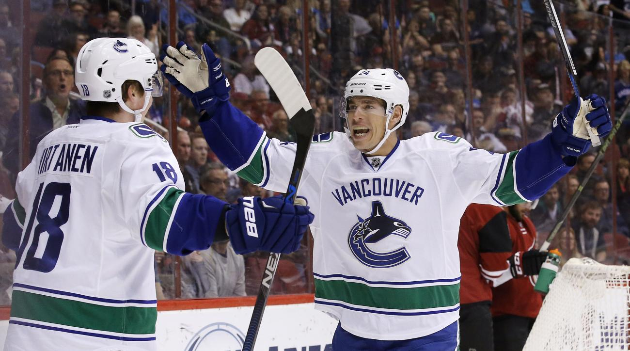 Vancouver Canucks' Jake Virtanen (18) celebrates his goal against the Arizona Coyotes with Adam Cracknell (24) during the first period of an NHL hockey game Wednesday, Feb. 10, 2016, in Glendale, Ariz. (AP Photo/Ross D. Franklin)
