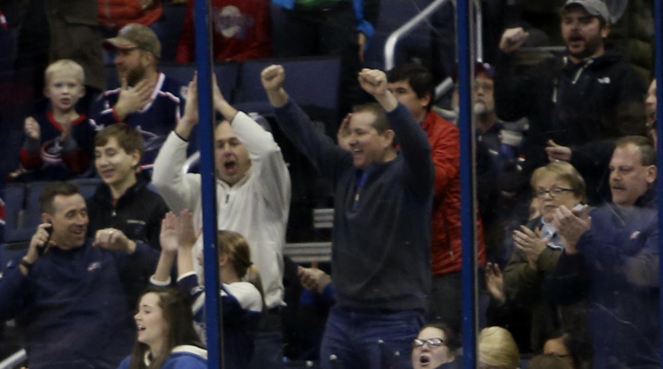 Columbus Blue Jackets' Brandon Saad celebrates his goal against the Anaheim Ducks during the third period of an NHL hockey game Thursday, Feb. 11, 2016, in Columbus, Ohio. The Blue Jackets beat the Ducks 4-3 in a shootout. (AP Photo/Jay LaPrete)