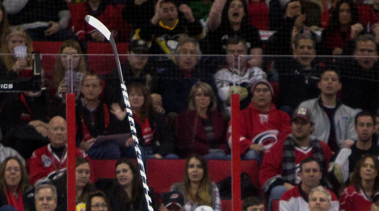 Pittsburgh Penguins' Phil Kessel (81) reacts after scoring a goal against the Carolina Hurricanes during the second period of an NHL hockey game in Raleigh, N.C., Friday, Feb. 12, 2016. (AP Photo/Ben McKeown)