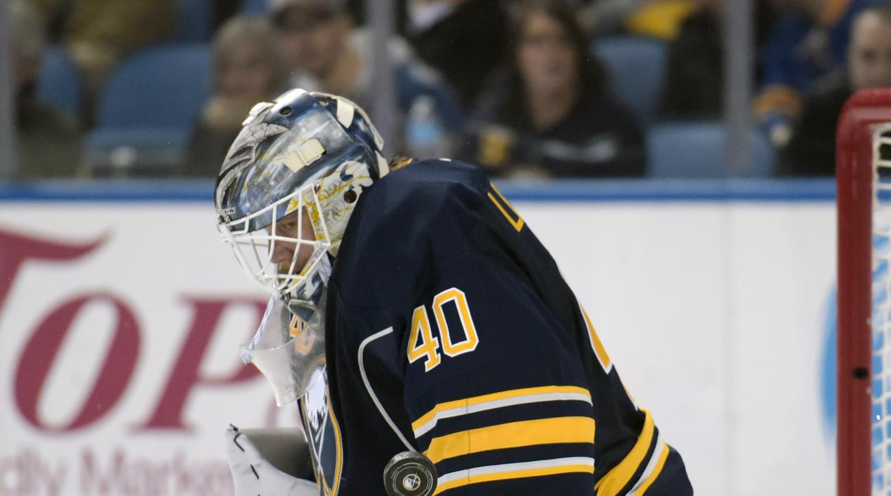 Buffalo Sabres goaltender Robin Lehner, of Sweden, makes a save during the second period of an NHL hockey game against the Colorado Avalanche, Sunday, Feb. 14, 2016, in Buffalo, N.Y. (AP Photo/Gary Wiepert)