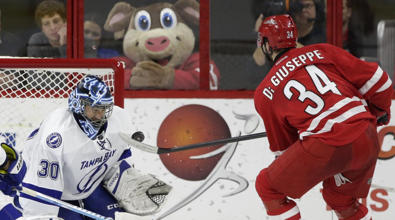 Carolina Hurricanes' Phil Di Giuseppe (34) tries to score against Tampa Bay Lightning goalie Ben Bishop (30) during the second period of an NHL hockey game in Raleigh, N.C., Sunday, Feb. 21, 2016. (AP Photo/Gerry Broome)