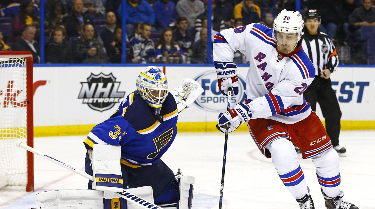 New York Rangers' Chris Kreider, right, deflects a shot in front of St. Louis Blues goalie Jake Allen during the second period of an NHL hockey game Thursday, Feb. 25, 2016, in St. Louis. (AP Photo/Billy Hurst)