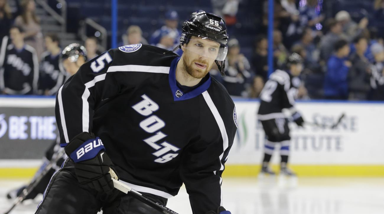 FILE - In this Jan. 27, 2016, file photo, Tampa Bay Lightning defenseman Braydon Coburn (55) skates before an NHL hockey game against the Toronto Maple Leafs, in Tampa, Fla. The Lightning signed Coburn to a three-year contract extention, Friday, Feb. 26,