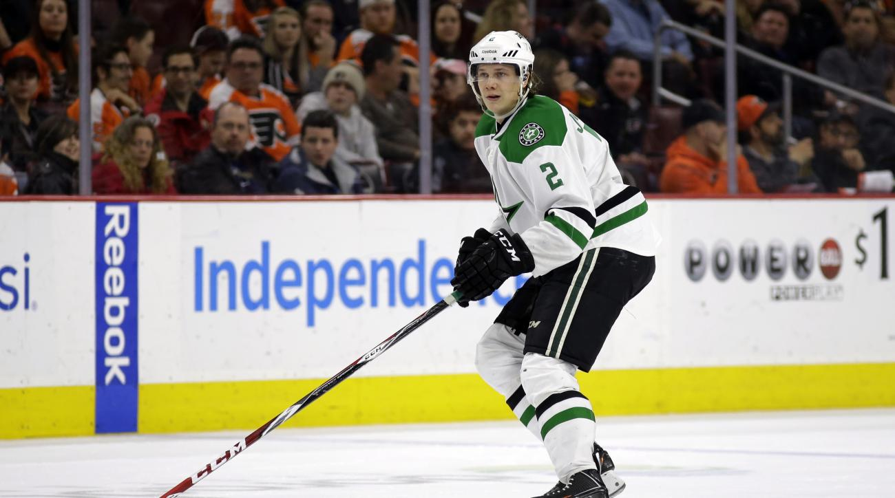 FILE - In this March 10, 2015, file photo, Dallas Stars' Jyrki Jokipakka skates during an NHL hockey game against the Philadelphia Flyers in Philadelphia. On Monday, Feb. 29, 2016, the Calgary Flames sent Kris Russell to Dallas for a relatively rich retur