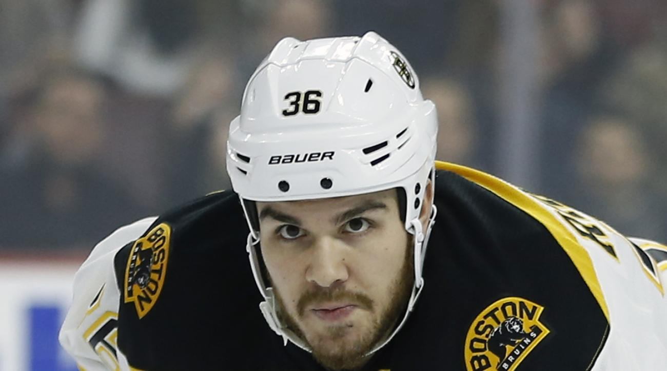 FILE - This is a Jan. 25, 2016, file photo showing Boston Bruins' Zac Rinaldo during an NHL hockey game against the Philadelphia Flyers, in Philadelphia. Rinaldo has been suspended for five games, without pay, for an illegal check to the head of Tampa Bay