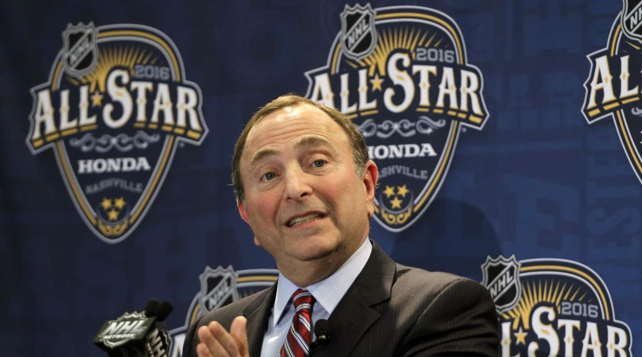 FILE - In this Jan. 31, 2016, file photo, NHL commissioner Gary Bettman speaks before the NHL hockey All-Star game skills competition, in Nashville, Tenn. Bettman hopes hockey fans are just as excited to see the 16-man World Cup of Hockey rosters as he wa