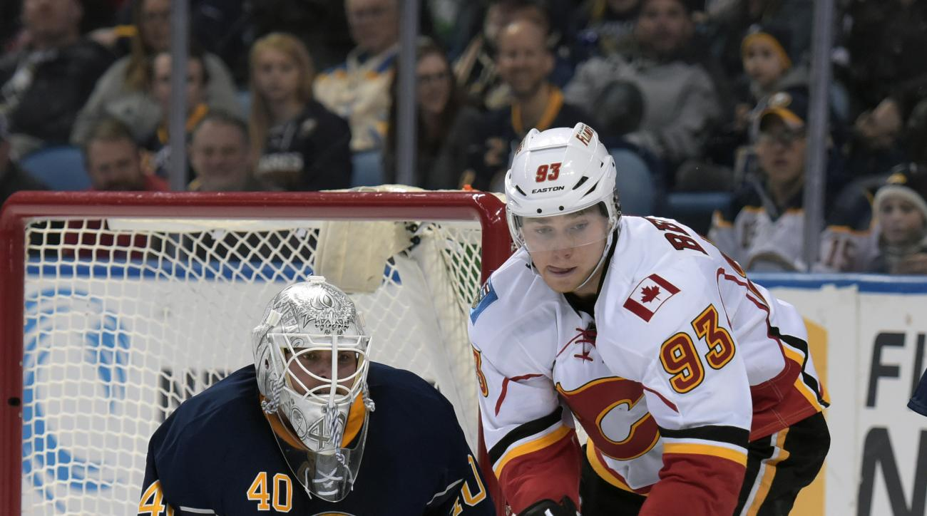 Buffalo Sabres goaltender Robin Lehner (40) eyes a rebound as Calgary Flames center Sam Bennett (93) closes in on the puck during the second period of an NHL hockey game, Thursday, March 3, 2016, in Buffalo, N.Y. (AP Photo/Gary Wiepert)