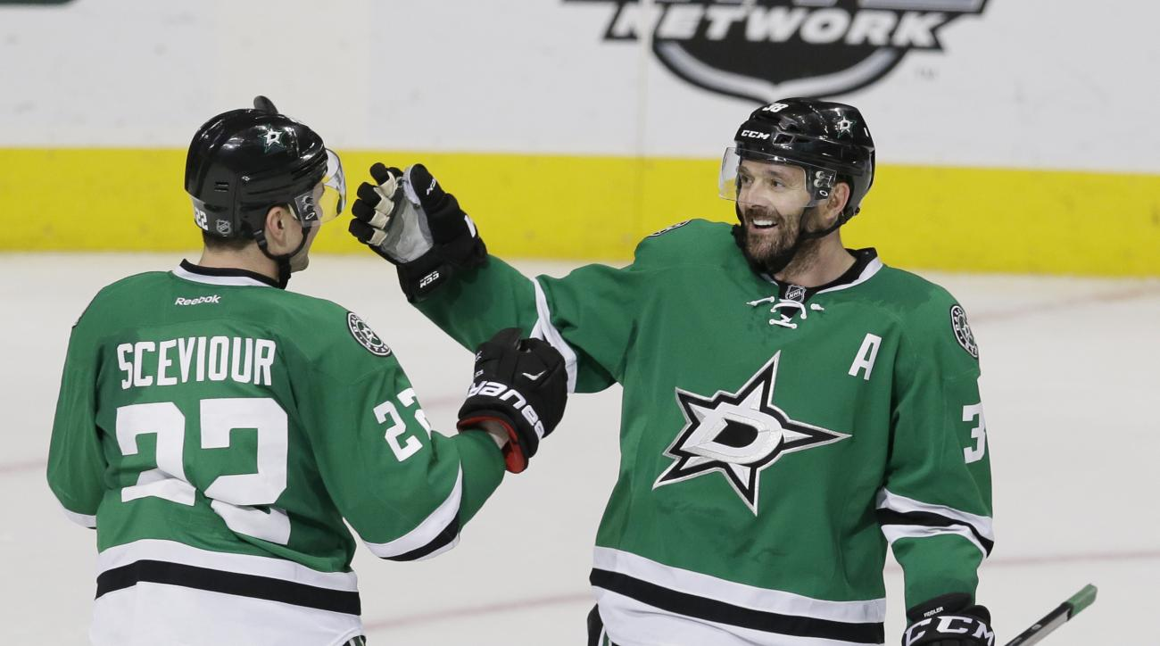Dallas Stars center Vernon Fiddler (38) celebrates scoring a goal with teammate Colton Sceviour (22) during the third period of an NHL hockey game against the New Jersey Devils Friday, March 4, 2016, in Dallas. The Stars won 4-2. (AP Photo/LM Otero)