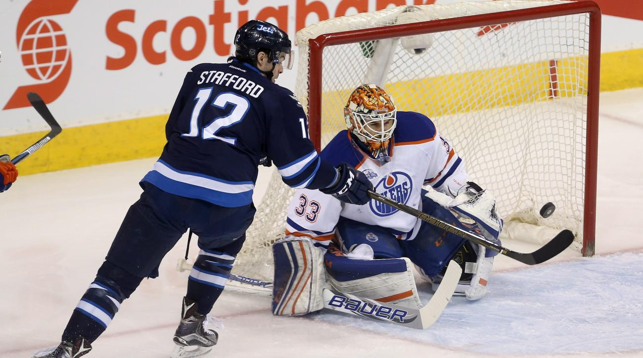 Winnipeg Jets' Drew Stafford (12) fails to hit a flying puck past Edmonton Oilers' goalie Cam Talbot (33) during first period of an NHL hockey game in Winnipeg, Manitoba, Sunday, March 6, 2016. (Trevor Hagan/The Canadian Press via AP)