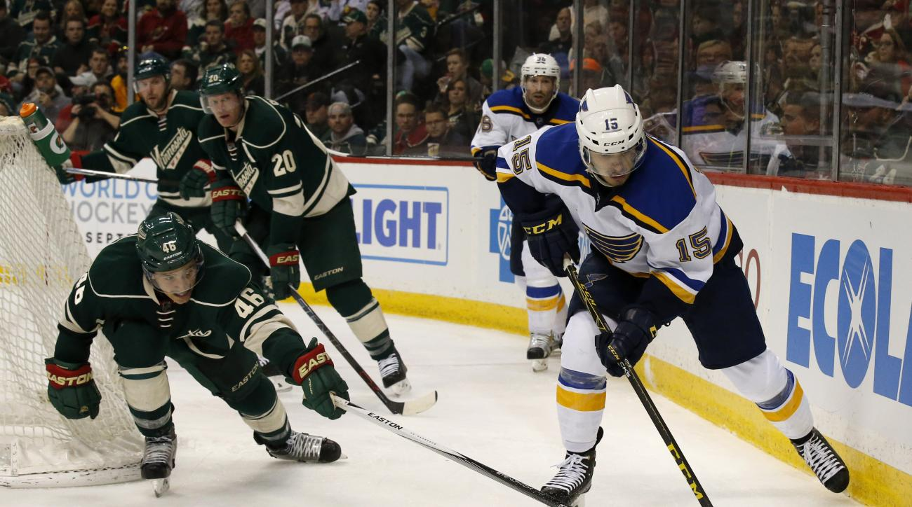 St. Louis Blues center Robby Fabbri (15) controls the puck in front of Minnesota Wild defenseman Jared Spurgeon (46) during the second period of an NHL hockey game in St. Paul, Minn., Sunday, March 6, 2016. (AP Photo/Ann Heisenfelt)