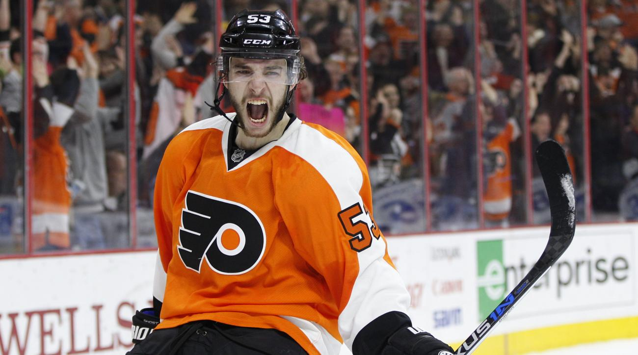 Philadelphia Flyers' Shayne Gostisbehere (53) reacts to his goal during the second period of an NHL hockey game against the Tampa Bay Lightning, Monday, March 7, 2016, in Philadelphia. (AP Photo/Chris Szagola)