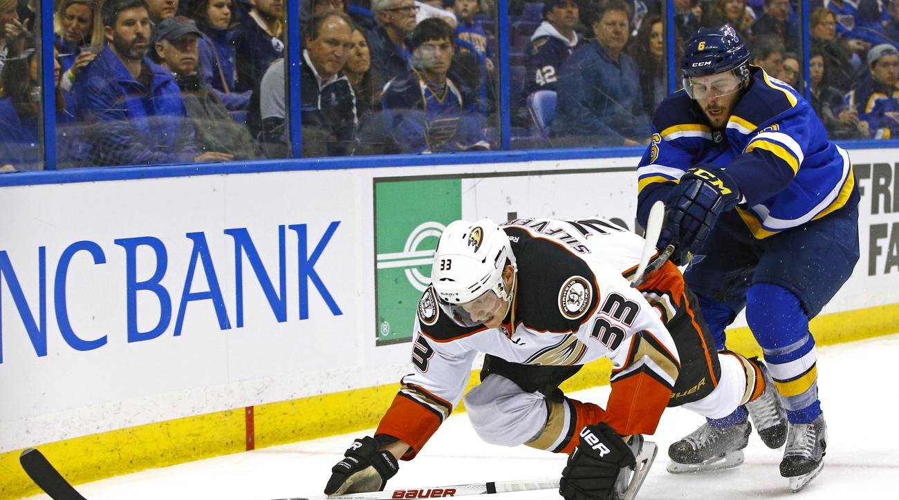 Anaheim Ducks' Jakob Silfverberg, left, of Sweden, is checked off the puck by St. Louis Blues' Joel Edmundson during the second period of an NHL hockey game Friday, March 11, 2016, in St. Louis. (AP Photo/Billy Hurst)