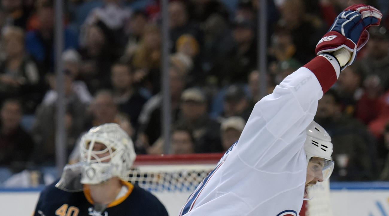 Buffalo Sabres goaltender Robin Lehner (40) reacts to a goal by Montreal Canadiens Andrei Markov as Alex Galchenyuk, right, celebrates during the second period of an NHL hockey game, Wednesday, March 16, 2016, in Buffalo, N.Y. (AP Photo/Gary Wiepert)