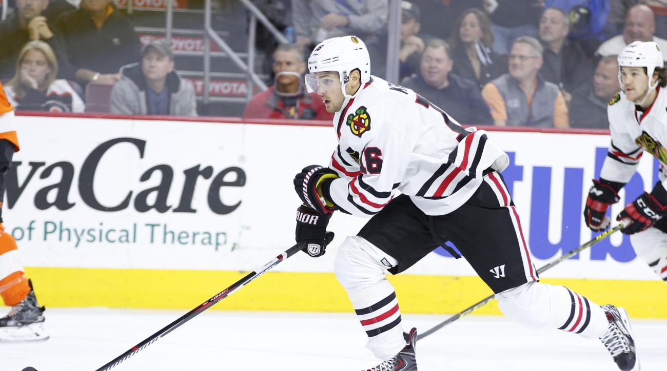 Chicago Blackhawks center Marcus Kruger of Sweden in action during the first period of a hockey game against the Philadelphia Flyers, Wednesday, Oct. 14, 2015, in Philadelphia. The Flyers won 3-0. (AP Photo/Chris Szagola)