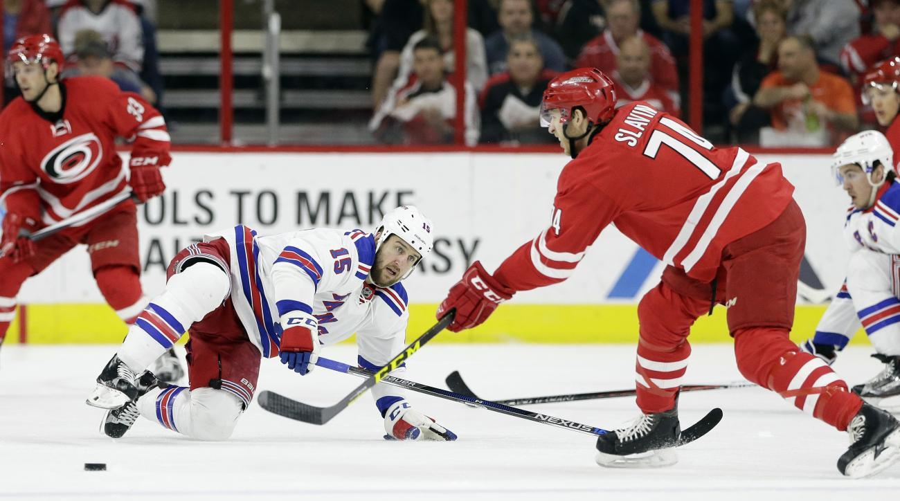 Carolina Hurricanes' Jaccob Slavin (74) passes the puck as New York Rangers' Tanner Glass (15) defends during the first period of an NHL hockey game in Raleigh, N.C., Thursday, March 31, 2016. (AP Photo/Gerry Broome)