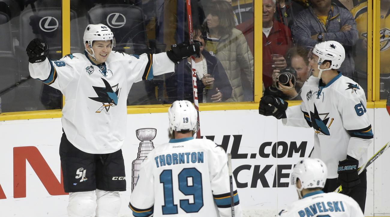 San Jose Sharks center Tomas Hertl (48), of the Czech Republic, celebrates after scoring a goal against the Nashville Predators in the third period of an NHL hockey game Saturday, April 2, 2016, in Nashville, Tenn. (AP Photo/Mark Humphrey)