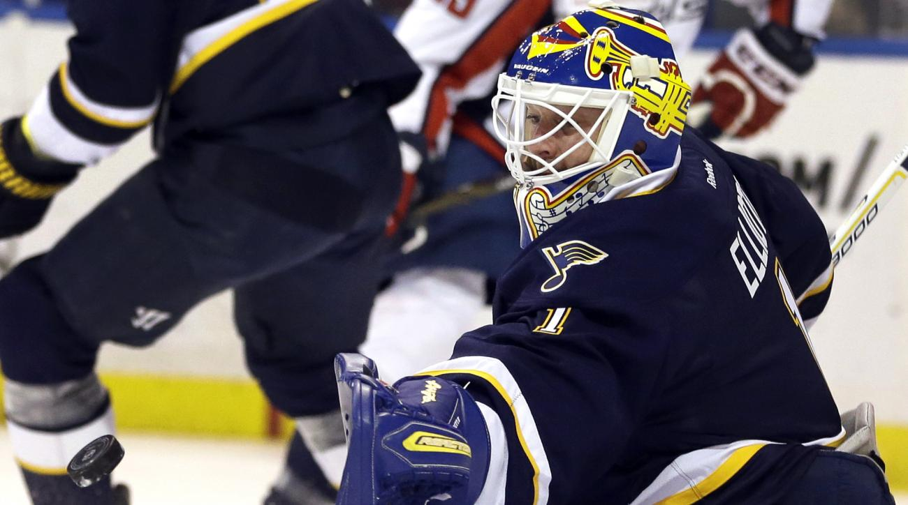 St. Louis Blues goalie Brian Elliott reaches for the puck during the first period of an NHL hockey game against the Washington Capitals, Saturday, April 9, 2016, in St. Louis. (AP Photo/Jeff Roberson)