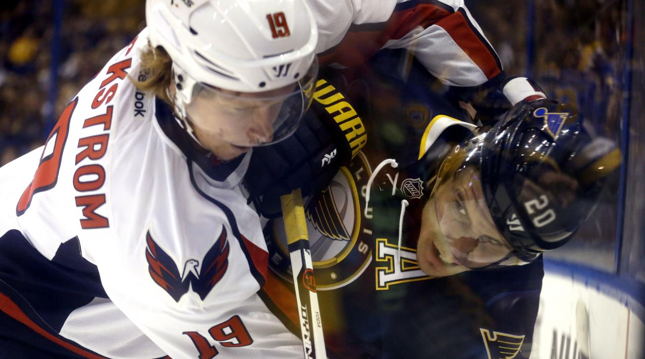 St. Louis Blues' Alexander Steen, right, and Washington Capitals' Nicklas Backstrom, of Sweden, become entangled along the boards during the first period of an NHL hockey game Saturday, April 9, 2016, in St. Louis. (AP Photo/Jeff Roberson)