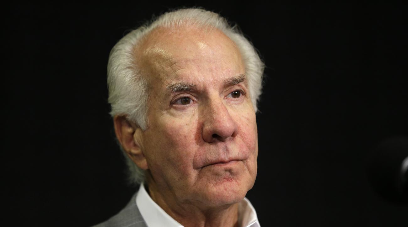 """FILE - This is a July 9, 2013, file photo showing Philadelphia Flyers chairman Ed Snider during a news conference in Philadelphia. Ed Snider, the Philadelphia Flyers founder whose """"Broad Street Bullies"""" became the first expansion team to win the Stanley C"""