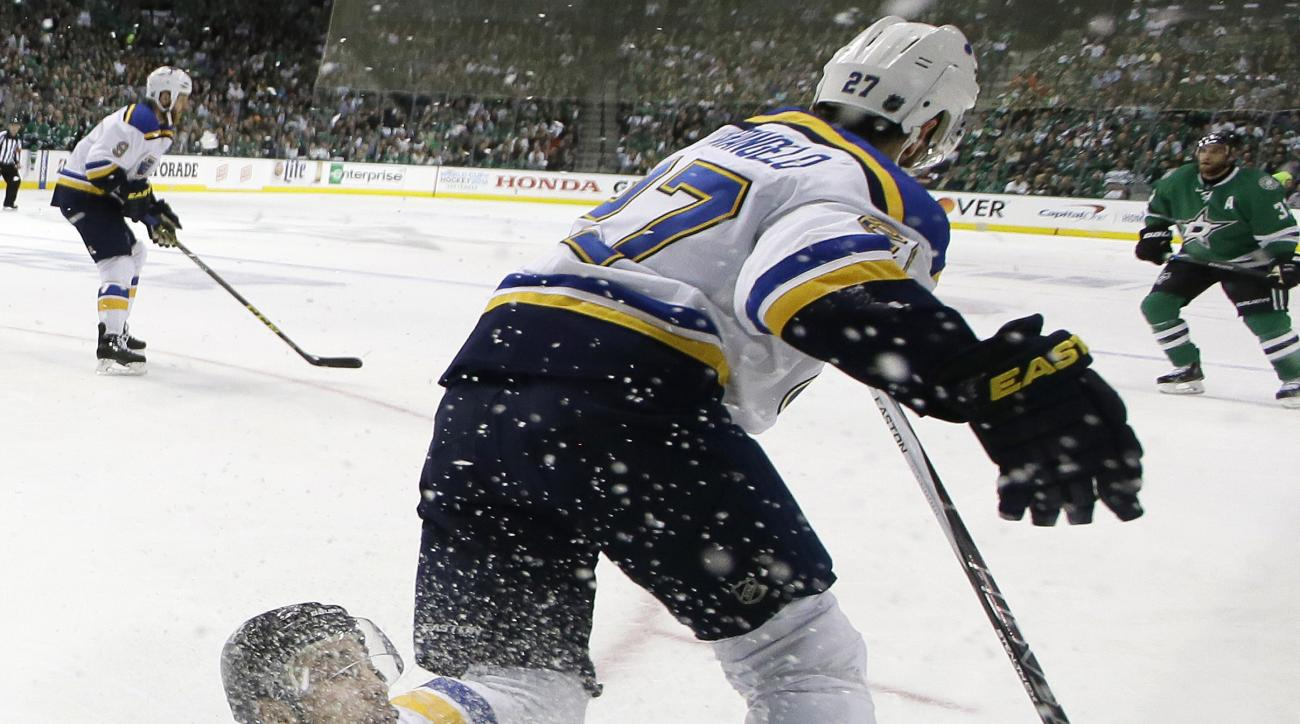 Dallas Stars center Colton Sceviour, bottom, is knocked to the ice by St. Louis Blues defenseman Alex Pietrangelo (27) during the first period in Game 1 in the second round of the NHL Stanley Cup playoffs Friday, April 29, 2016, in Dallas. (AP Photo/LM Ot