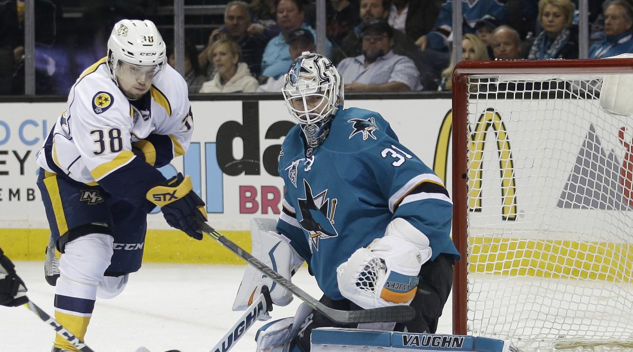 San Jose Sharks goalie Martin Jones (31) deflects a shot from Nashville Predators' Viktor Arvidsson (38) during the second period of Game 1 in an NHL hockey Stanley Cup Western Conference semifinal series Friday, April 29, 2016, in San Jose, Calif. (AP Ph